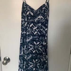 Blue patterned skater dress